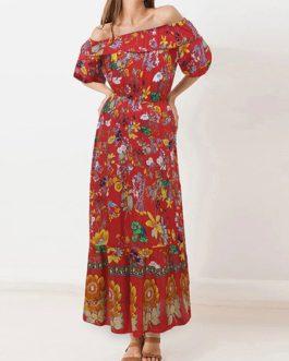 Maxi Dresses Floral Print Bateau Neck Ruffles Bohemian Dress Cotton Blend Floor Length Dress