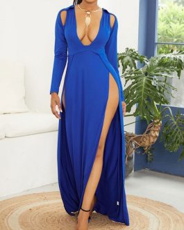 Maxi Dresses Long Sleeves V Neck Cotton Blend Floor Length Dress