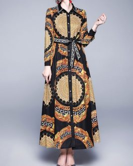 Maxi Dresses Printed Turn down Collar Buttons High Low Design Polyester Long Dress
