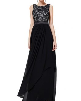 Maxi Dresses Sleeveless Floral Print Jewel Neck Pleated Layered Lace Long Dress