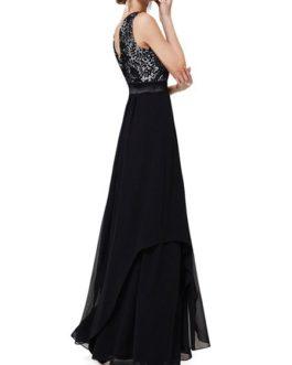 Maxi Dresses Sleeveless Floral Print Jewel Neck Pleated Layered Lace Long Dress