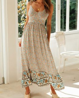 Maxi Dresses Sleeveless Floral Print Straps Neck Bohemian Dress Drawstring Long Dress