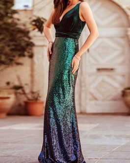 Maxi Dresses Sleeveless Ombre V Neck Sequins Maxi Polyester Floor Length Dress