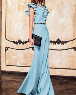 Maxi Dresses V Neck Ruffles Bodycon Floor Length Dress