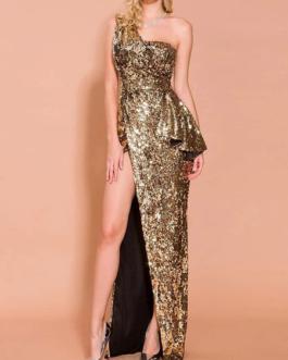 Maxi Sesquin Dresses Sleeveless One Shoulder Split Sequins Long Dress