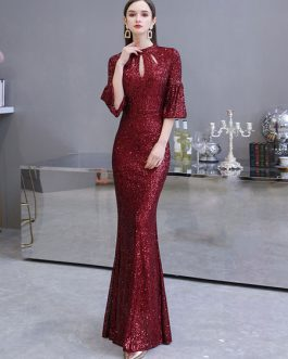 Mermaid Designed Neckline Sequined Floor Length Sequins Formal Dinner Evening Dresses