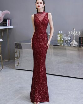 Mermaid High Collar Sequined Sleeveless Floor Length Sequins Formal Party Evening Dresses