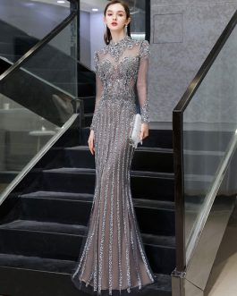 Mermaid Jewel Long Sleeve Floor Length Formal Dinner Evening Dresses