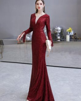 Mermaid Jewel Neck Sequined Floor Length Sequins Social Pageant Evening Dresses