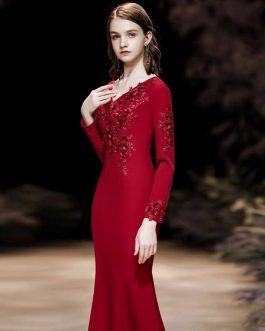 Mermaid V Neck Floor Length Long Sleeves Zipper Flowers Matte Satin Formal Party Evening Dresses