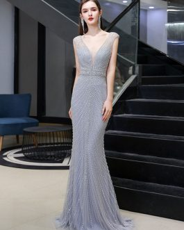 Mermaid V Neck Sleeveless Floor Length Formal Dinner Evening Dresses