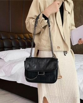 Retro PU Leather Solid Color Chain Casual Crossbody Bag