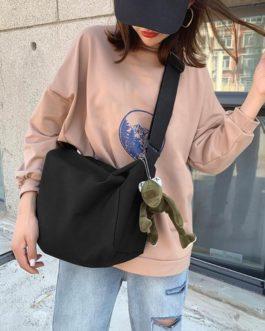 Shoulder Handbag Canvas Large Capacity Plush Doll Messenger Bag