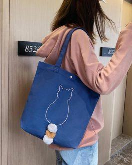 Shoulder Bag Large Capacity Totes Cat Print Shopping Handbag