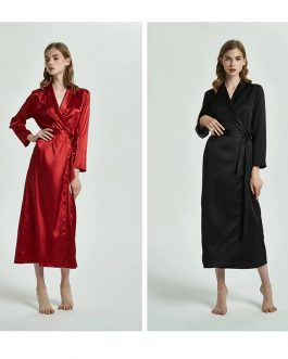 Nightgown One Piece Faux silk Lapel Ankle Length Robe