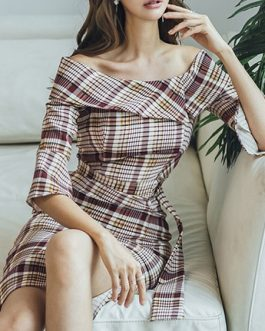 Off The Shoulder Bell Sleeve Plaid Bodycon Dress