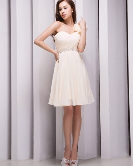 One-Shoulder Beading Chiffon Grace Bridesmaid Dress