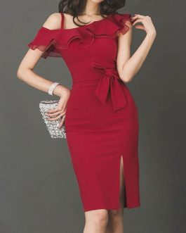One Shoulder Ruffles Split Sleeveless Bodycon Dress
