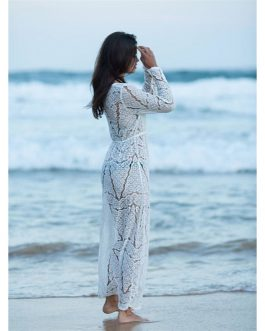 Open Stitch Beach Cover Up Lace Dress