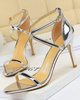 Open Toe Patent Criss-Cross Sandals Stiletto Heel Women's Shoes