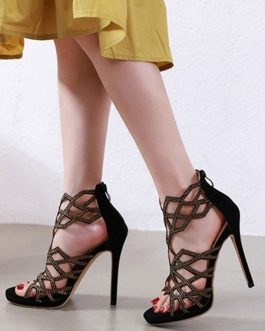 Open Toe Rhinestones Stiletto Heel Women's Shoes