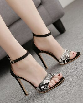 Open Toe Sandals Leopard Print Stiletto Heel Women's Shoes