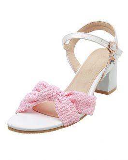 Open Toe Two-Tone Sandals Chunky Heel Women's Shoes