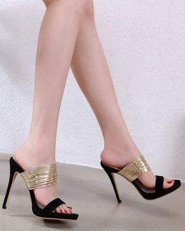 Open Toe Two-Tone Sandals Stiletto Heel Women's Shoes