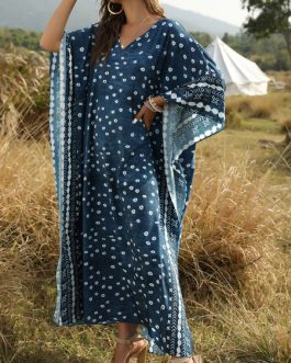Oversized  V Neck Half Sleeves Printed Tunic Maxi Dress
