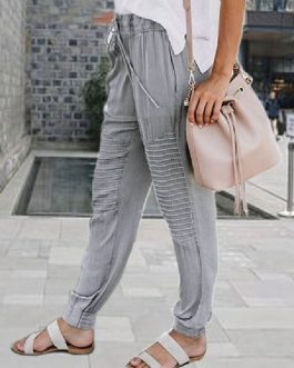 Casual Harem Chiffon Thin Solid Color Trousers