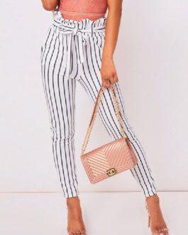 Casual Harem Cotton Blend Stripes Trousers