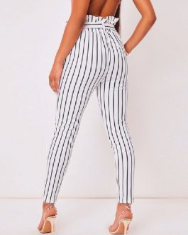 Pants Cotton Blend Stripes Trousers