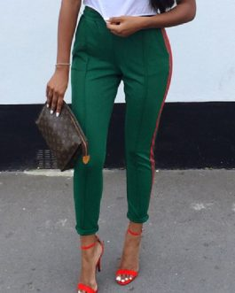 Casual Skinny Cotton Blend Solid Color Trousers