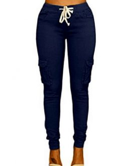 Casual Pants Cotton Blend Trousers