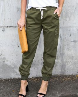 Casual tapered fit Cotton Blend Trousers