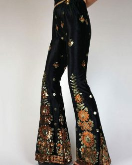 Casual Pants Polyester Raised Waist Floral Print Trousers