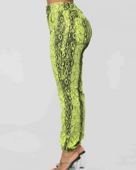 Pants Polyester Snake Print Trousers