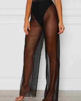 Sexy Straight Solid Color Tulle Trousers