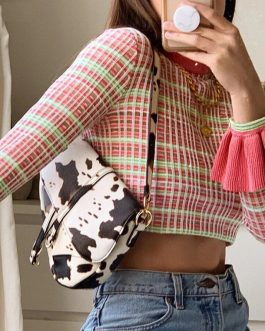 Plaid Casual O-Neck Flare Long Sleeve Slim Pullovers Crop Top