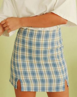 Plaid Double Slit Bodycon Skirt