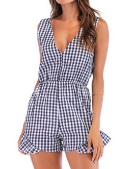 Plaid V Neck Polyester One Piece Outfit