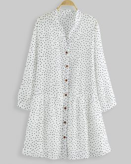 Polka Dot Button Long Sleeve Mini Shirt Dress