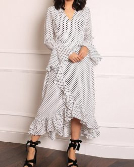 Polka Dot Ruffle Sleeve High Low Hem Causal Dress