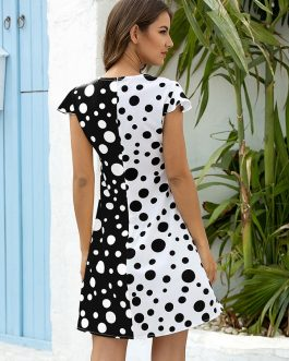 Polka Dots Print Color Block Short Sleeve Mini Dress