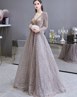Princess Silhouette V Neck Long Sleeve Lace Sequins Floor Length Social Party Evening Dresses