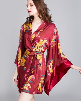 Printed Printed V-Neck Long Sleeve Nightgown