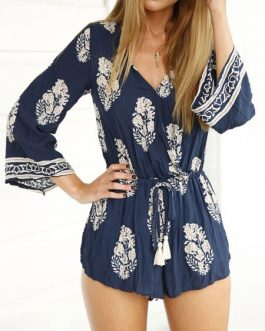 Printed Stretch Shorts Romper Playsuit