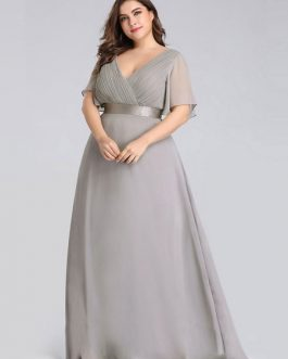 Prom A Line V Neck Sleeveless Floor Length Pleated Wedding Guest Dresses