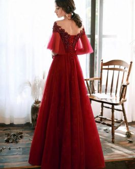 Prom Illusion Neckline A Line Half Sleeves Lace Floor Length Party Dresses