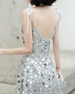 Prom Straps Neck A Line Sleeveless Tea Length Sequins Party Dresses